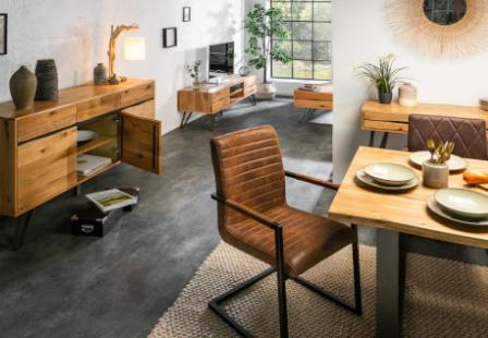 Details zu Industrial Design Couchtisch LIVING EDGE 110cm Wildeiche massiv  Wohnzimmertisch