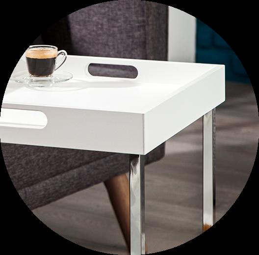 Beistelltisch ciano tablett tisch weiss chrom design for Beistelltisch unter couch schieben