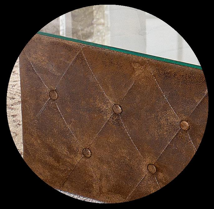 Chesterfield Couchtisch 100 cm Braun Antik Glasplatte