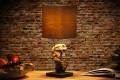 Design Treibholz Lampe HYPNOTIC braun Tischlampe Handarbeit mit echten Leinenschirm