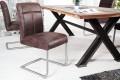 Hochwertiger Edelstahl Freischwinger Stuhl BIG GEORGE coffee mit optimalem Sitzkomfort durch hohen Sitzpolsteraufbau