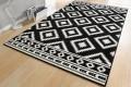 Dekorativer Design Teppich ETHNO 160x230cm Schwarz Creme Aztekenmuster