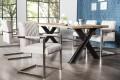 Hochwertiger Echt Edelstahl Freischwinger Stuhl BIG ASTON stone grau mit hohem Sitzpolsteraufbau im Roadster Sitz Retro Design Microfaser