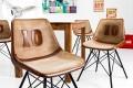 Design Stuhl RUGBY braun mit Echtleder Bezug