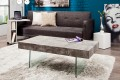Moderner Design Couchtisch FLOATING 110cm Beton-Optik Glas Komposition inkl. Schubkasten