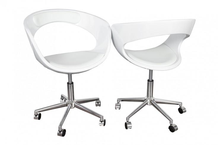 Design Bürodrehstuhl GAMBLER weiß mit Rollen höhenverstellbar im Loungedesign