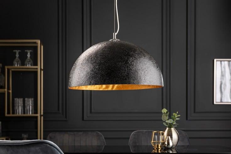 Elegante Design Hängeleuchte GLOW 50cm schwarz gold Hängelampe