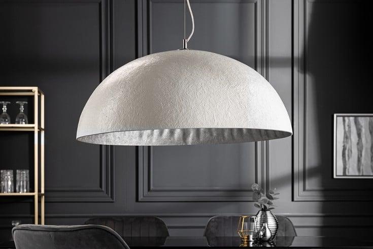 Elegante Design Hängeleuchte GLOW 70cm weiß silber Hängelampe