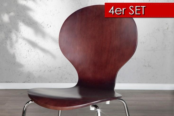 4er Set Design Stuhl FORM Coffee