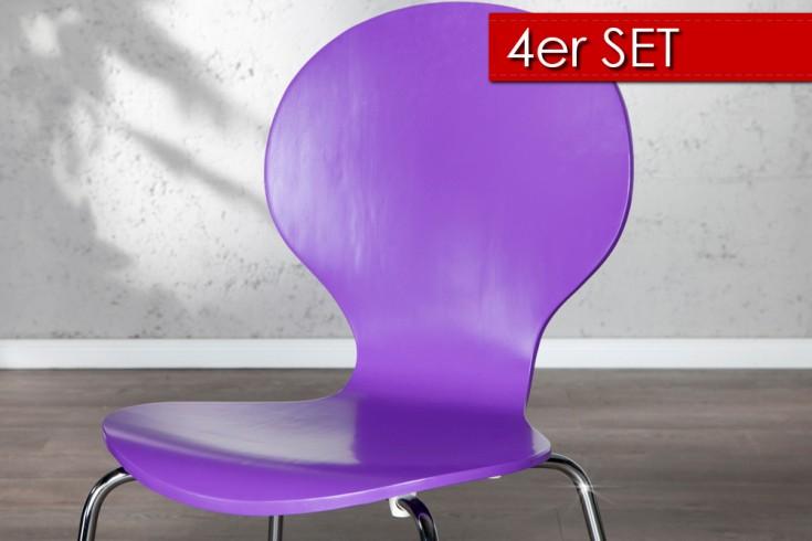 4er Set Design Stuhl FORM Lila