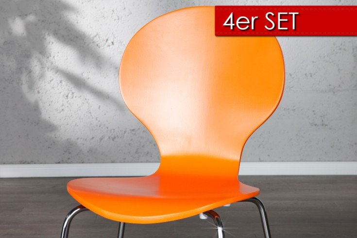 4er set design stuhl form orange riess ambiente onlineshop for Design stuhl orange