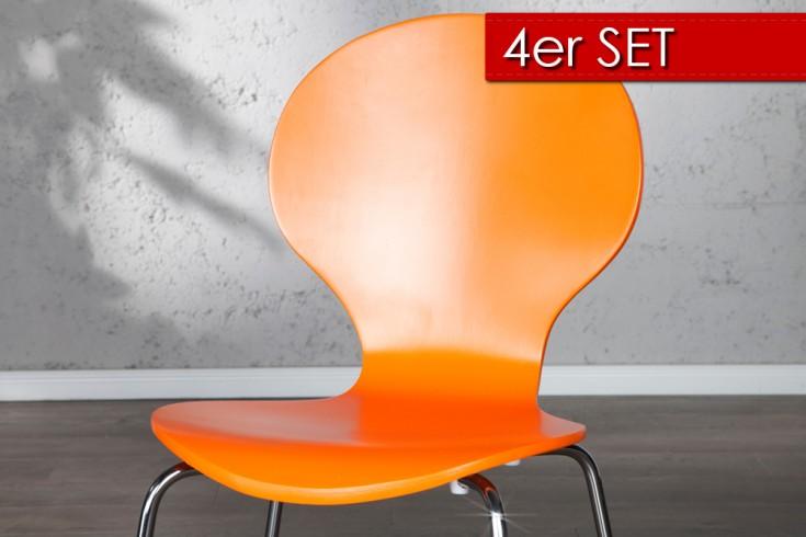 4er Set Design Stuhl FORM Orange
