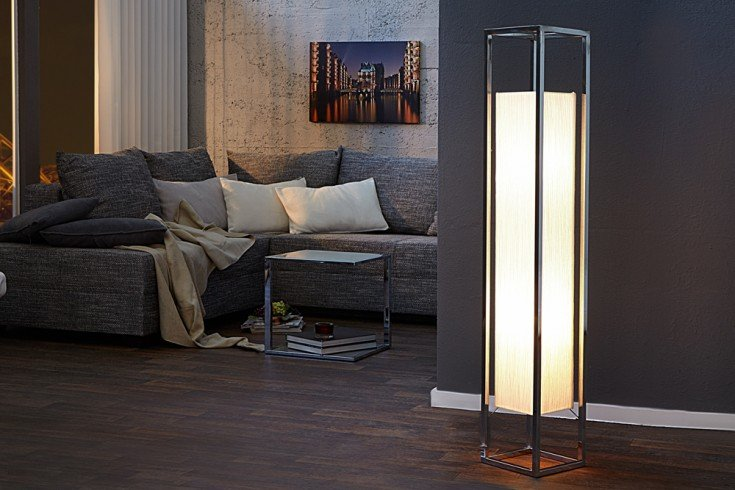 Moderne Stehlampe AGAPUNE 120cm weiß handgeschöpfter Papierschirm