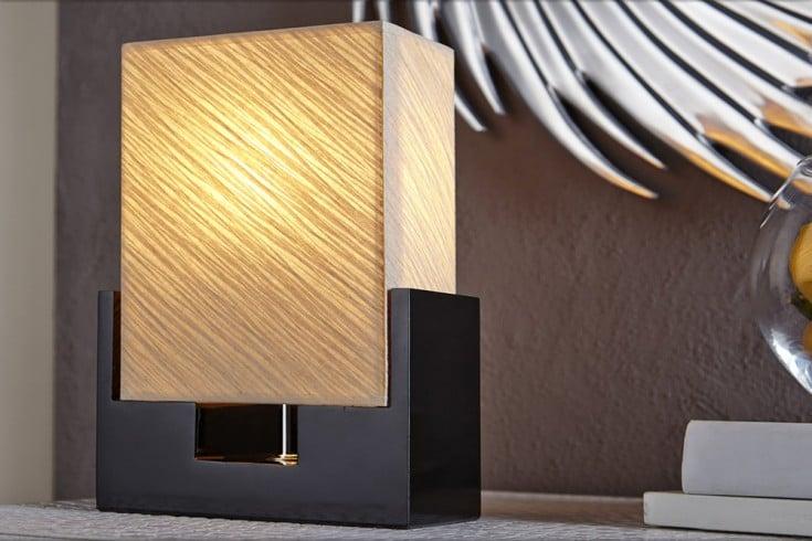 Moderne Tischlampe TWILIGHT 25cm schwarz beige Tischleuchte