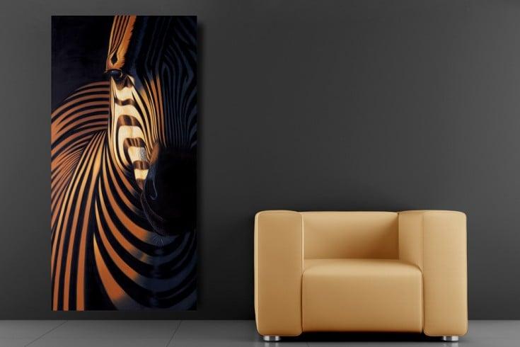 Hochwertiges handgemaltes Ölgemälde DESIGN OF NATURE I Bild auf Keilrahmen und Canvas Leinengewebe 75x150 cm Zebra