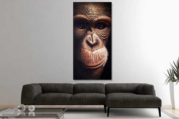 Hochwertiges handgemaltes  Ölgemälde INSTINCT OF NATURE Bild auf Keilrahmen und Canvas Leinengewebe 75x150 cm Affe