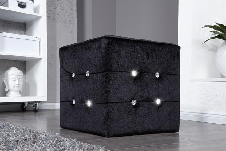 Eleganter Sitzwürfel BOUTIQUE 40cm schwarz Samt Hocker mit Strass-Steinen