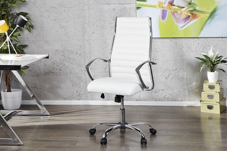 Ergonomischer Design Bürostuhl BIG DEAL weiß Chefsessel höhenverstellbar mit hochwertig verchromten Armlehnen