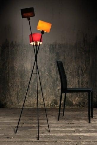 Stylische Design Stehleuchte VITA schwarz orange lila Lampe Lampe Stehlampe