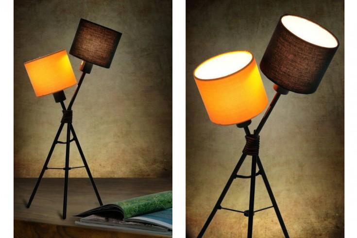 Stylische Design Tischlampe VITA schwarz orange 55cm