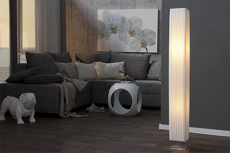 Edle Design Stehlampe PARIS weiss 120cm Plissee Schirm