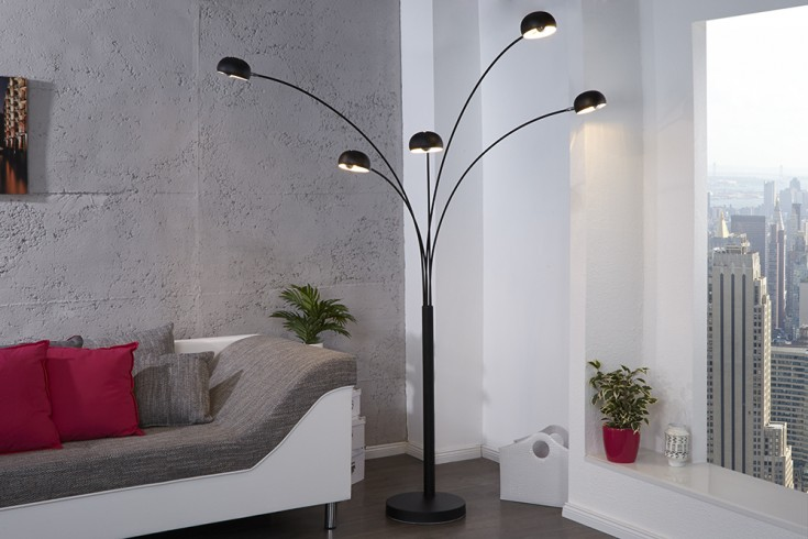 Bogenlampe Five Lights in schwarz Bogenleuchte