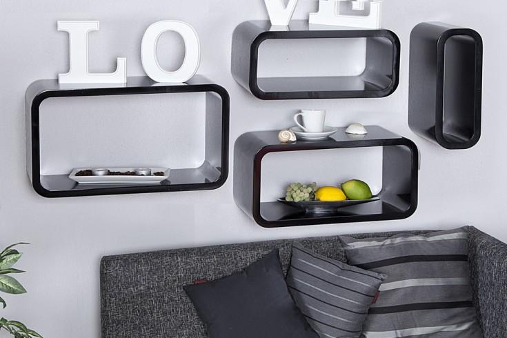 4er Set Design Regal CLUB CUBE LARGE 45cm schwarz Retro Lounge Wandregal
