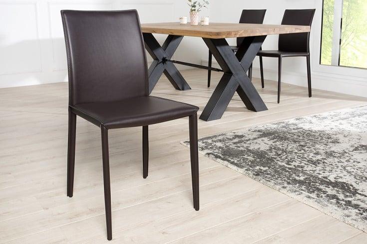 Moderner Design Stuhl MILANO coffee Echtleder Bezug