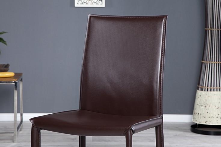 Exklusiver design stuhl milano echt leder coffee ziernaht for Design stuhl milano