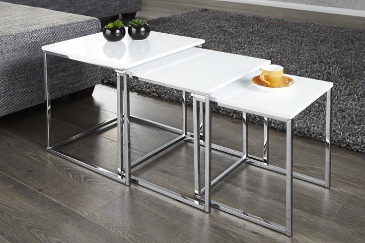 Design Beistelltisch 3er Set ELEMENTS 40cm Hochglanz weiß chrom