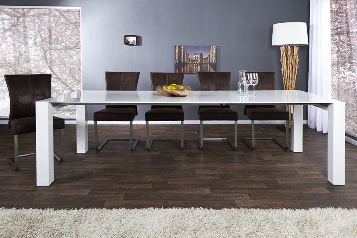 ausziehbarer design esstisch x7 wei hochglanz 180 220. Black Bedroom Furniture Sets. Home Design Ideas