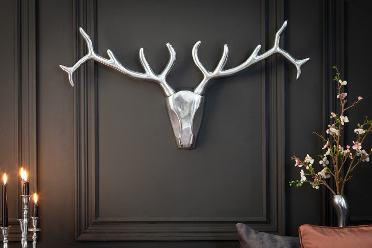 Moderne Wanddekoration VEADO 98cm silber Hirschgeweih
