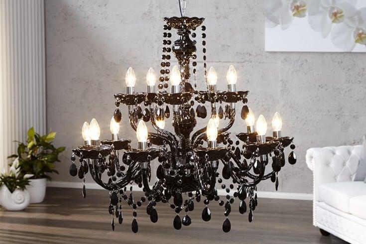 Eleganter Kronleuchter BLACK CRYSTAL 80cm schwarz 15-armig Kristall Lüster