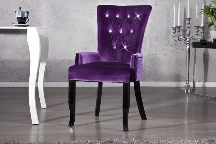 Design Stuhl BOUTIQUE mit Armlehnen Samt lila mit Strasssteinen