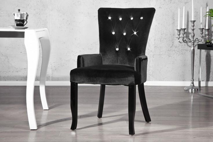 Design Stuhl BOUTIQUE mit Armlehne Samt schwarz mit Strasssteinen