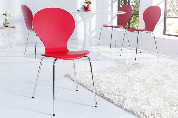 Design Stuhl FORM Designklassiker aus hochwertigem Formholz  rot stapelbar