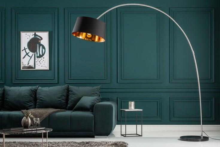 Design Bogenlampe FORMA 215cm schwarz gold Stehlampe mit Marmorfuß
