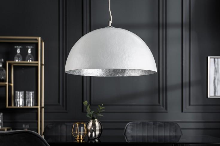 Elegante Design Hängeleuchte GLOW 50cm weiß silber Hängelampe