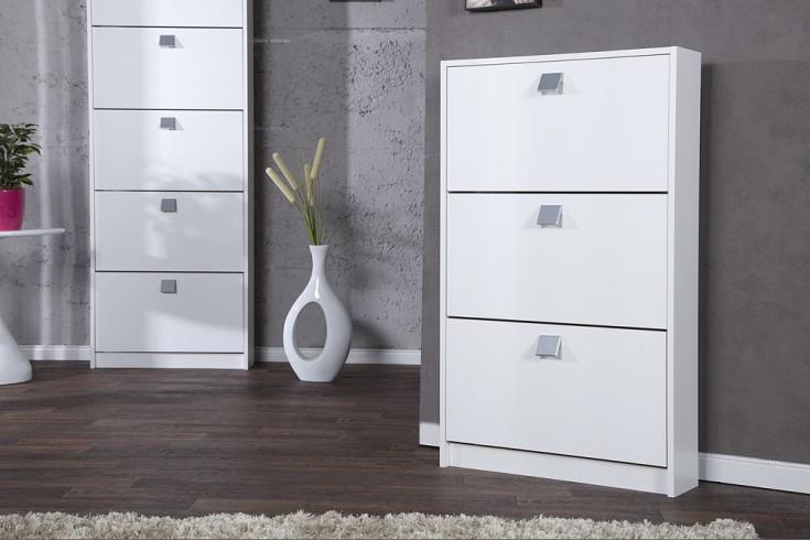 exklusiver design schuhschrank merano 3 klappen weiss. Black Bedroom Furniture Sets. Home Design Ideas
