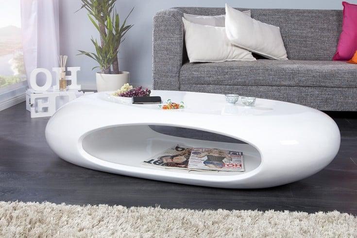 Design Couchtisch Organic Ii 135cm Hochglanz Lack Weiß Riess