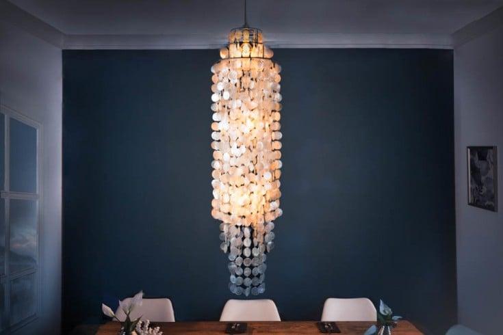 Elegante Hängeleuchte GIANT SHELL RING XL 150cm Perlmutt Lampe