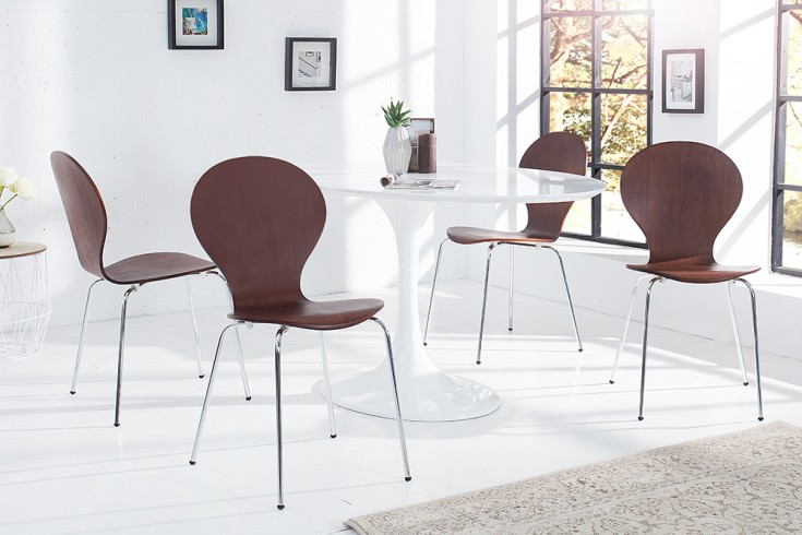 4er Set Stuhl FORM Designklassiker aus hochwertigem Formholz Coffee stapelbar