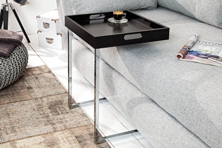Design Beistelltisch CIANO 40cm schwarz chrom Tablett-Tisch