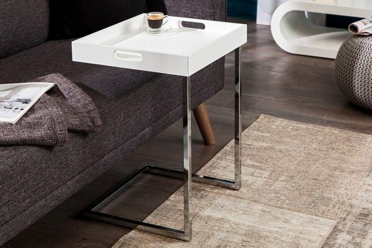 Design Beistelltisch CIANO 40cm weiß chrom Tablett-Tisch