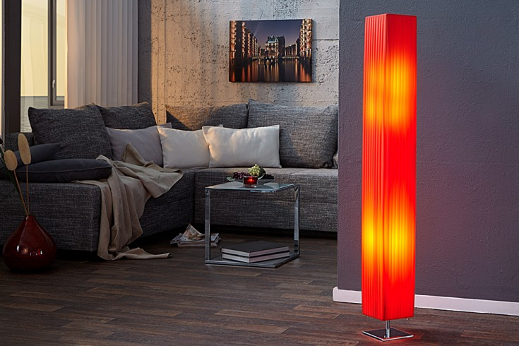 Edle Design Stehlampe PARIS rot 120cm Plissee Schirm