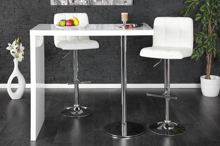 Design Stehtisch MAGNUS 120cm Bartisch hochglanz weiß
