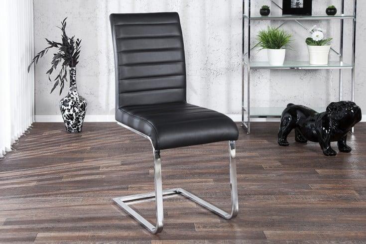Design Freischwinger Stuhl STUART schwarz Flachstahl