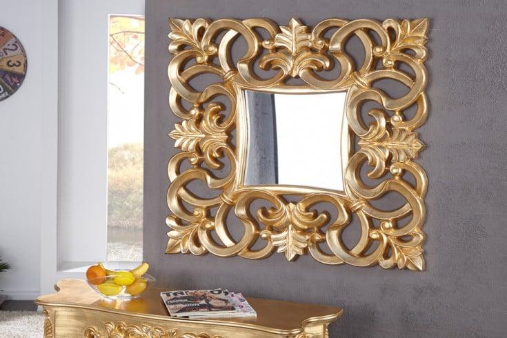 Eleganter Wandspiegel VENICE 75x75cm gold antik Barockstil