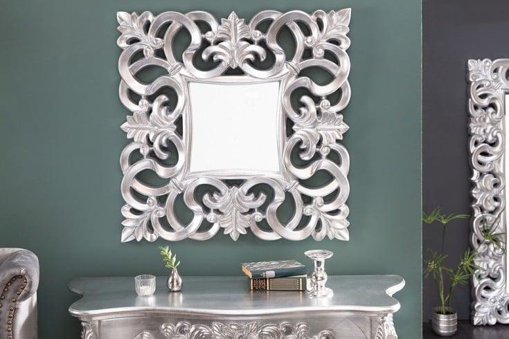 Eleganter Wandspiegel VENICE 75x75cm silber antik Barockstil