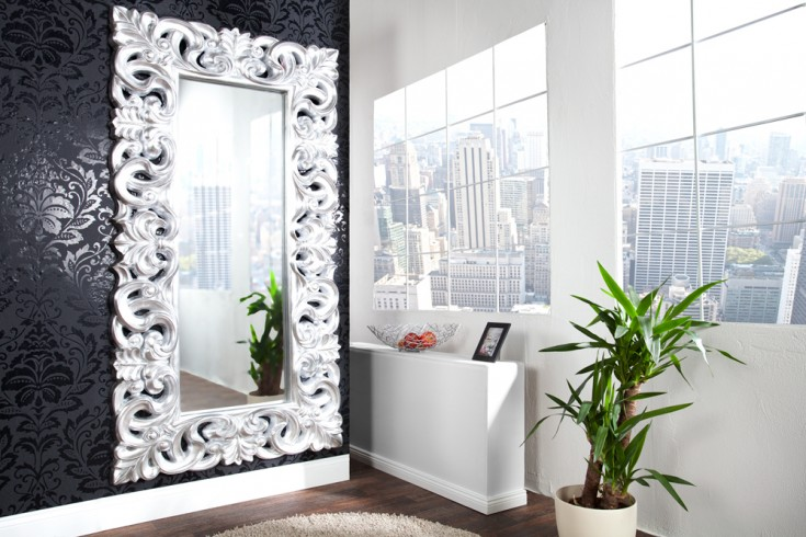 Eleganter Wandspiegel VENICE 180x90cm silber antik Barockstil